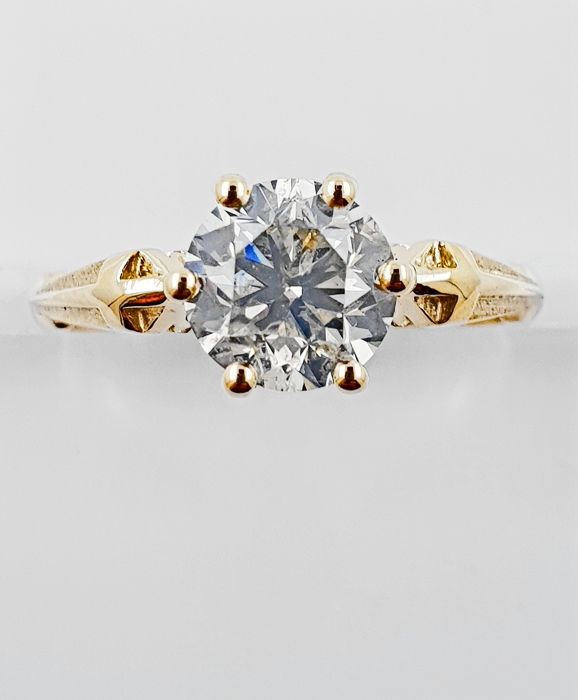 14 kt. Yellow gold - Ring - 1.53 ct Diamond - No Reserve D/SI1