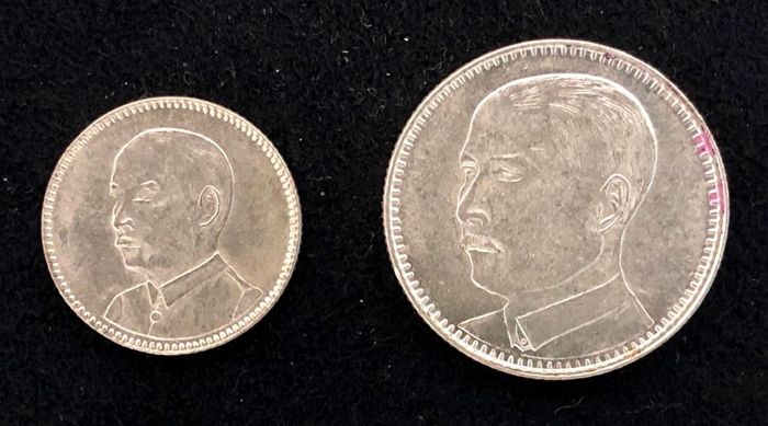 China - Kwangtung - 10, 20 Cents - Republic of China, year 18 (1929) - the Prime Minister Sun Yat-sen - Zilver