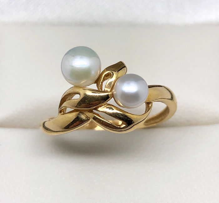 18 kt Gelbgold - Ring Perle