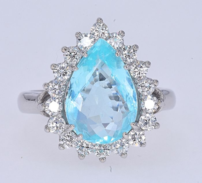 18 karaat Witgoud - Ring - 4.08 ct Paraiba - Diamanten