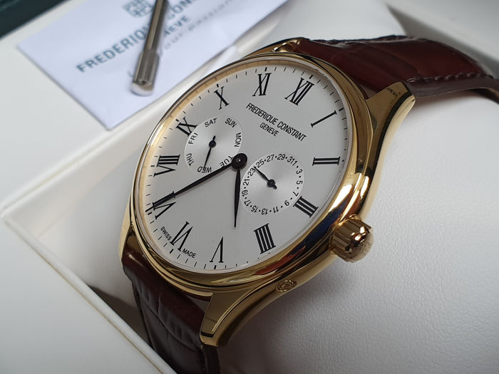 Frédérique Constant - luxury gold plated men day and date display unworn  - Homme - 2018