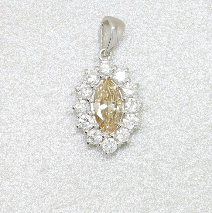 18 kt. Gold, White gold - Pendant - 1.38 ct Diamond - Diamond