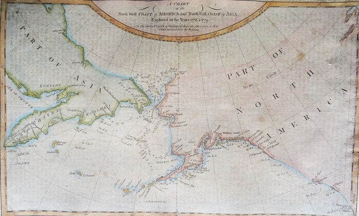États-Unis, Canada, Alaska, Russia, Kamtsjatka, Siberia, Bhering Strait; Anderson / Hogg /  Cook - A chart of the North West Coast of America and North East Coast of Asia. Explored in the year 1778 & - 1781-1800