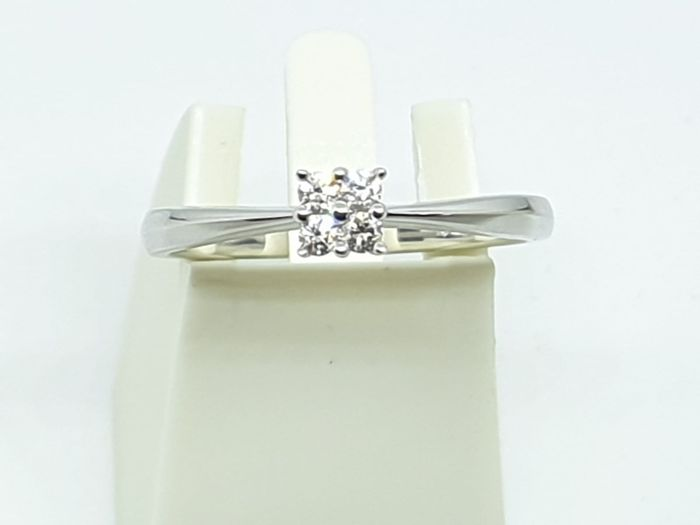 18 karaat Witgoud - Ring - 0.13 ct Diamant