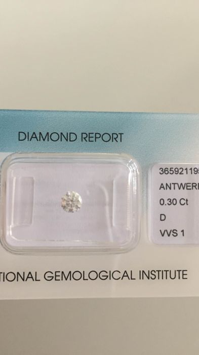 1 pcs Diamante - 0.30 ct - Redondo - D (incoloro) - VVS1