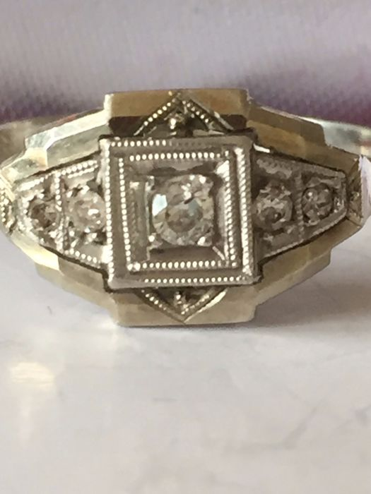 14 quilates Oro blanco - Anillo Diamante - 4, Diamante