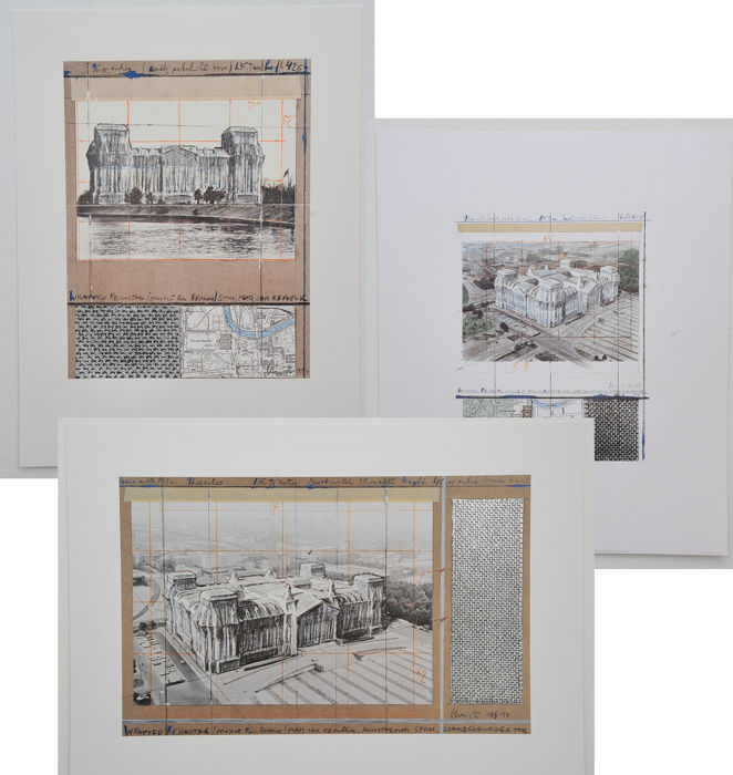 Christo - 3 prints Reichstag with silver foil