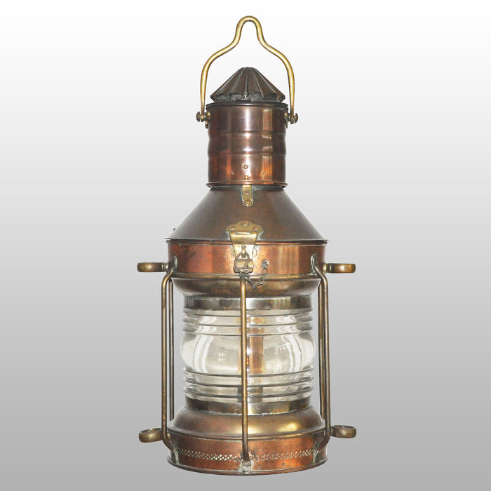 Large heavy ship lamp (anchor light) 360 ° - Brass, Copper, Glass - First half 20th century