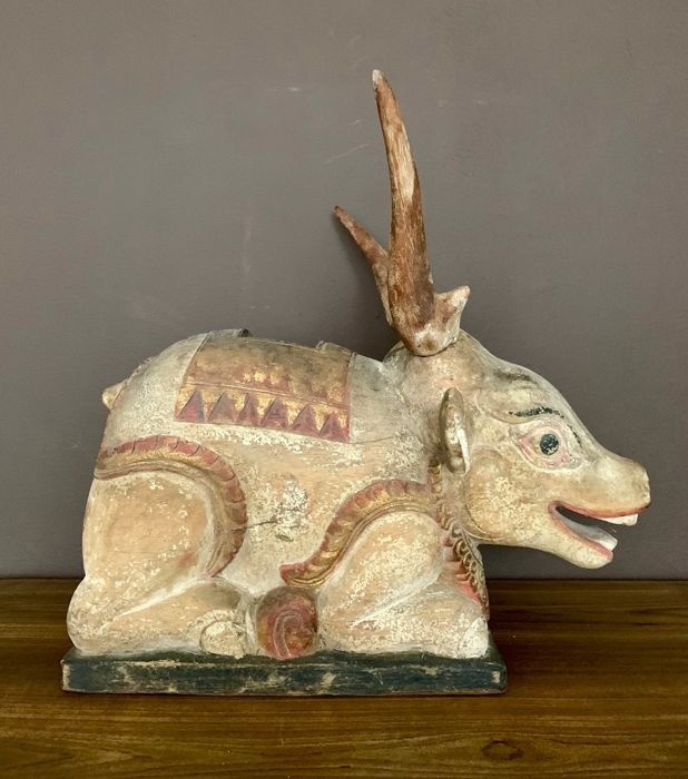 polychrome statue of a Balinese deer - Wood - Bali, Indonesia