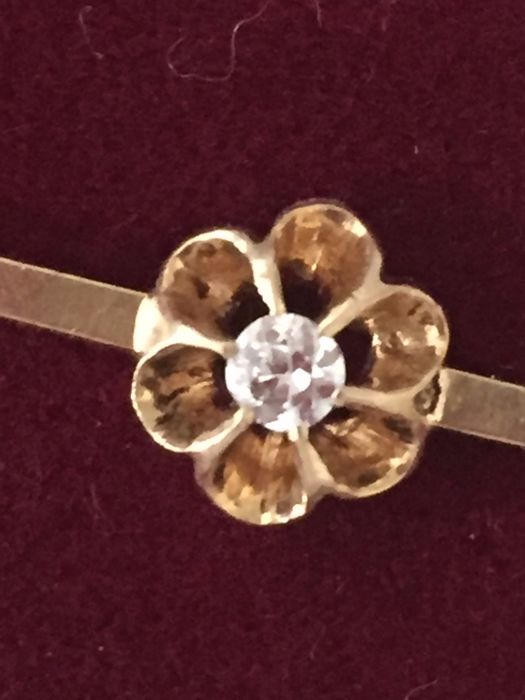 18 carats Or, Or jaune - Broche - 0.10 ct Diamant