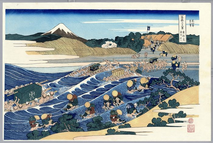(Takamizawa), Houtblok print (herdruk) - Katsushika Hokusai (1760-1849) - Fuji from Kanaya on the Tôkaidô from the series Thirty-six Views of Mount Fuji - ca. 1970