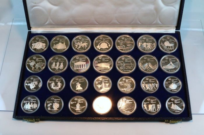 Kanada - 5 + 10 Dollars 1973/1976 'Olympiade Montreal 1976' (28 pieces) in box - Silber