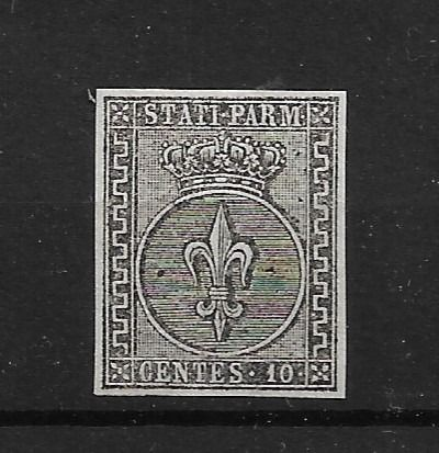 Italy 1852 - PARMA - 10 cents white, intact gum LUXURY - Sassone N. 2