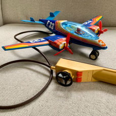 Joustra - 60's Tin Airplane, F33, Battery Operated - France