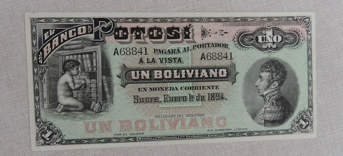 Bolivia - 1 Boliviano 1894 - Pick S231 - remainder