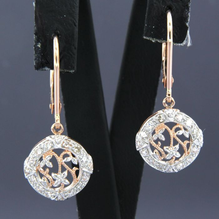 14 kt. Pink gold, White gold - Earrings - 0.38 ct Diamond