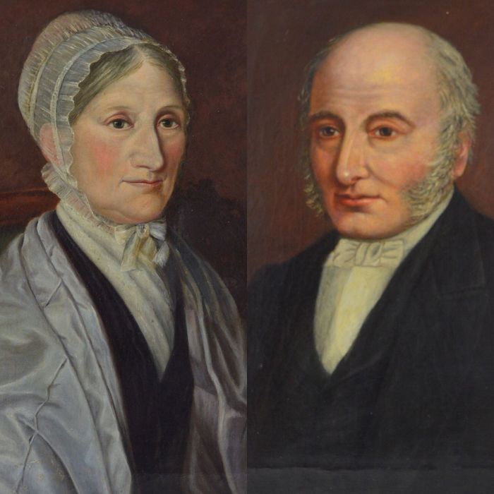 English school (19th century) - A pair portraits of a husband and his wife