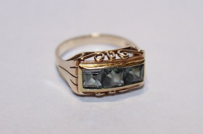 14 kt. Gold - Ring citrine or amblygonite