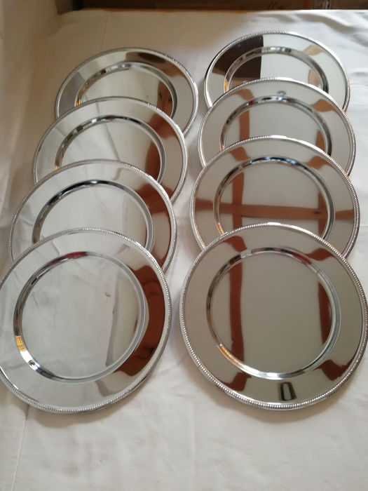 8 beautiful stainless steel 18/10 plates in new condition (8) - Steel (stainless) Curio, used for sale