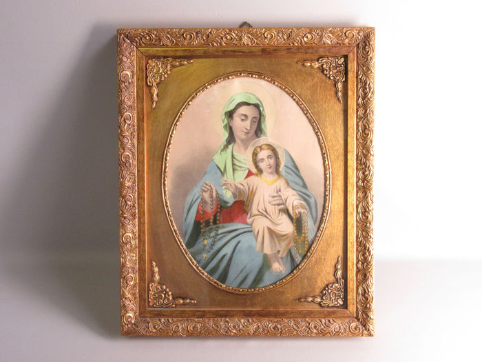 Ancient watercolored votive print with golden frame - Paper, Wood