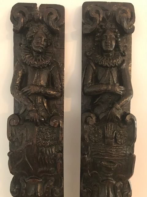 Pair 17th Century Carved Oak Pilasters or Terms  - Oak - 17th century