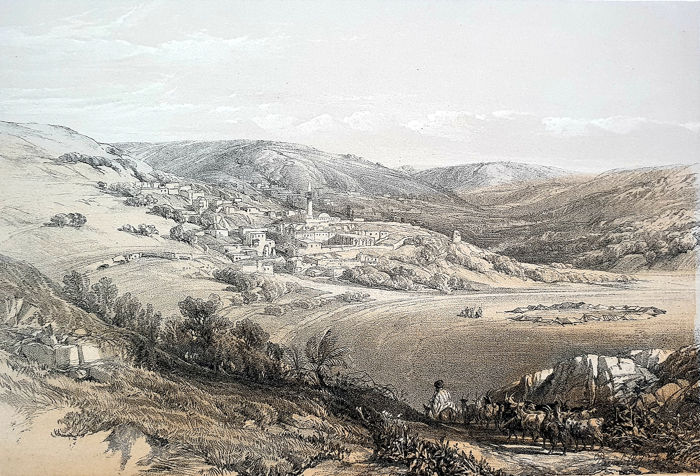 2 prints by David Roberts (1796 – 1864) - General view of Nazareth & view on Hebron