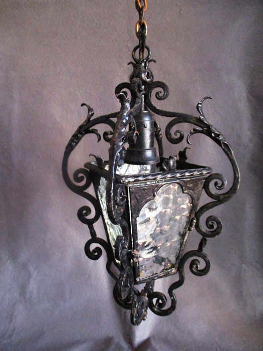 Hand forged iron Lantern - Early 20th century
