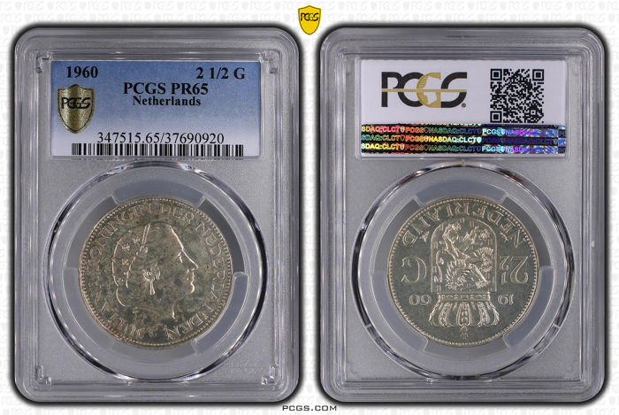 The Netherlands - 2½ Gulden 1960 Juliana in PCGS slab PR65  - Silver