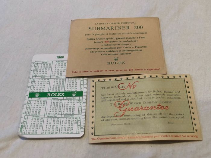 Rolex -   Blank Rolex Authentic Guarantee no reserve price - CIGARETTE CARD / CALENDAR - Unisex - 1960-1969