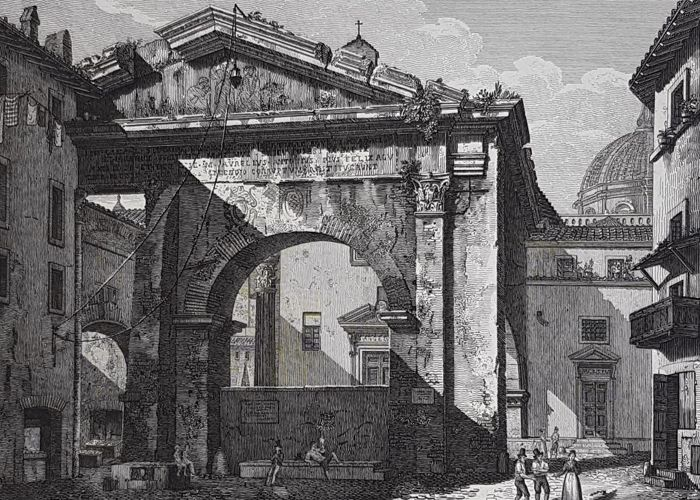 Five etchings by Domenico Amici (1808-1871) - Views of Roman temples and ruins