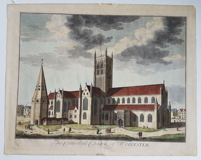 Großbritannien, Worcester; Johannes Kip - The Cathedral Church of Worcester - 1721-1750