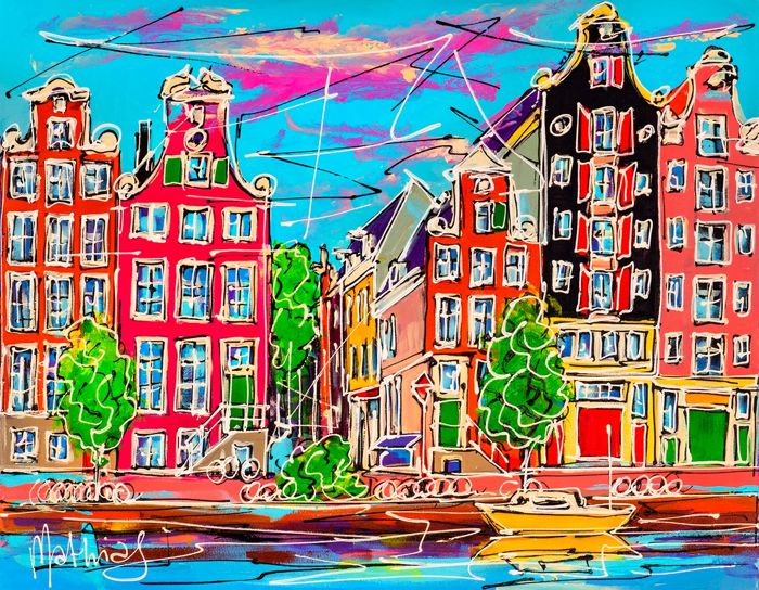 Mathias - Canal of Amsterdam, colored houses and yellow boat