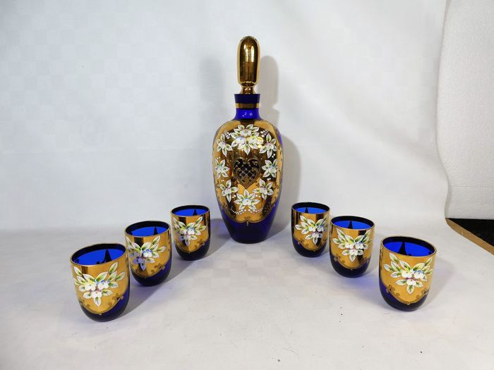 Murano - Richly decorated carafe + 6 glasses - Glass / Crystal