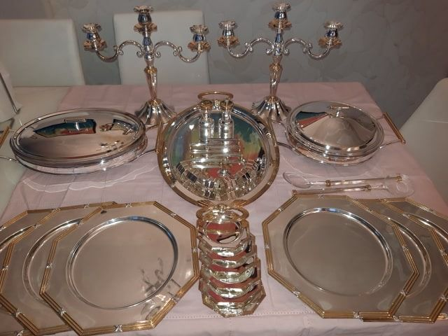 Prestige - Rare Luxus Dinnerware (37) - Art Nouveau style - Heavily silver-plated and 24-carat gold-plated