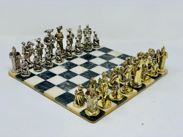 Chess Renaissance Figures - Bronze (gilt/silvered/patinated/cold painted)