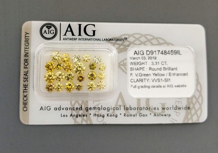 23 pcs Diamanten - 3.31 ct - Rond - Fancy Vivid Green Yellow, Kleurbehandeld - VVS1 - SI1