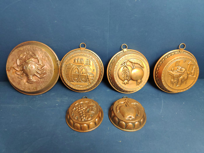 Lot of three pudding molds - Copper