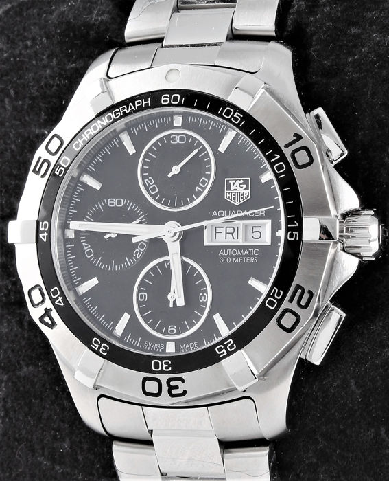 TAG Heuer - Aquaracer Chronograph - Day-Date - Swiss automatic - 300 meter - Ref. No: CAF2110.BA0815 - Excellent - Warranty - Men - 2011-present