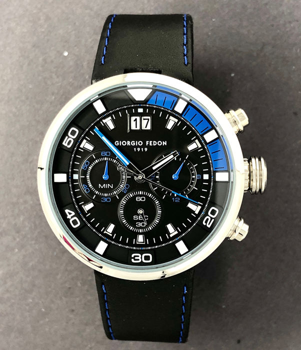 Giorgio Fedon 1919 - Chronograph Speed Timer V Black Blue Tone Leather Strap  - GFBQ004 - Men - Brand New