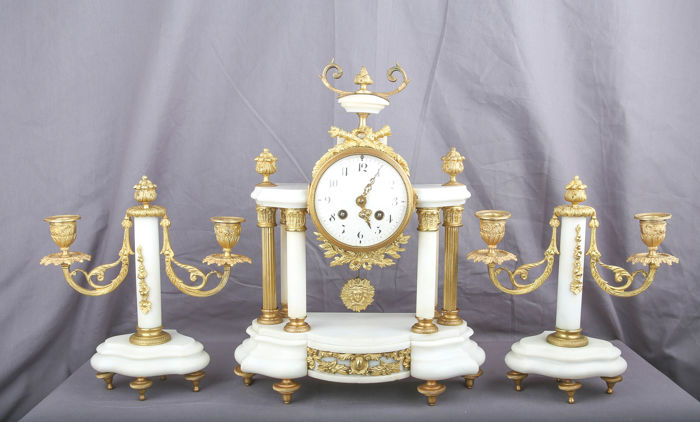 Empire pendulum clock set 6 columns - candlesticks - Bronze, Marble - 1850/1880