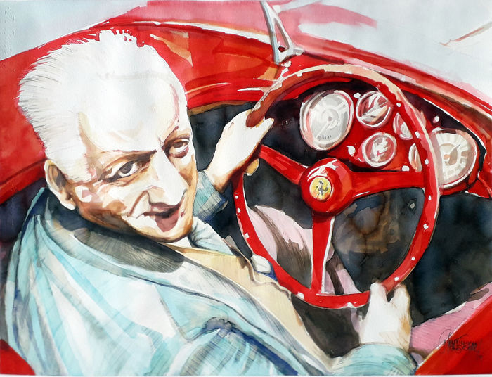 Original watercolor by Gilberto Gaspar - Enzo Ferrari - 2018