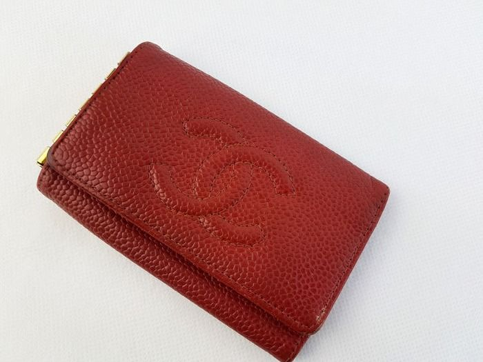 Chanel - CC - logo - Key-Case - 6 -  red caviar