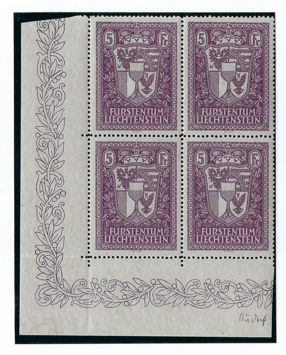 Liechtenstein 1933/1935 - Coat Of Arms 5Fr violet block with margin of sheet - SBK 121
