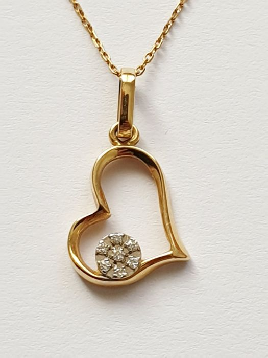 18 kt. Yellow gold - Necklace with pendant diamonds