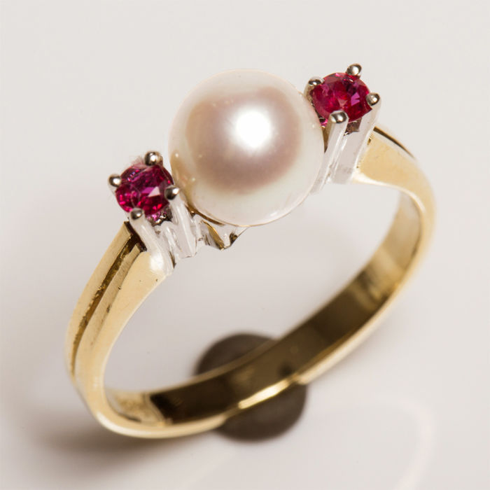 14 kt. Akoya pearl, White gold, Yellow gold - Ring - Rubys