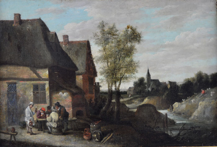 Follower of David Teniers (1610-1690) - Figures playing cards outside a tavern.