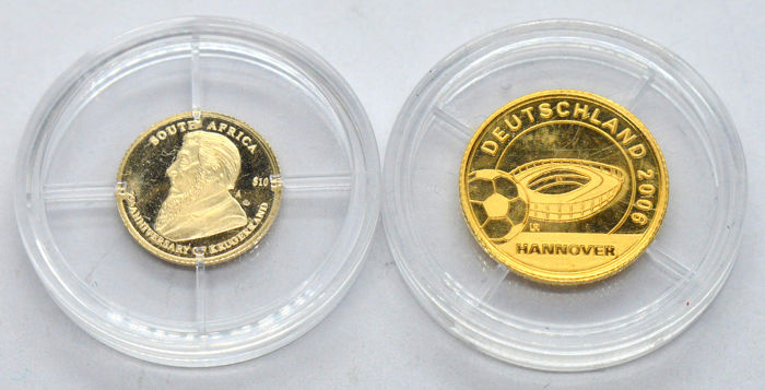 Libéria - 10 Dollar 2004/2005 Krugerrand, Football (2 coins)  - Or