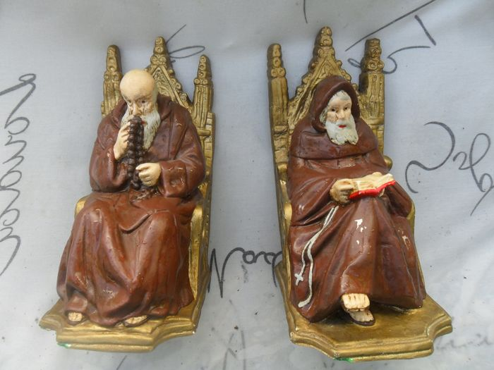 Vintage bookend monks (2) - Gips