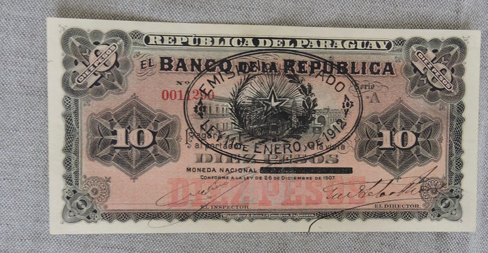 Paraguay - 10 Pesos 1912 - Provisional Issue - Pick 129