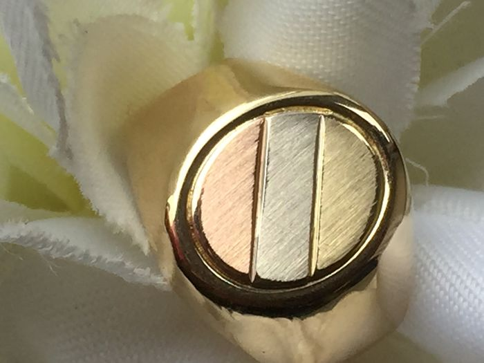 Zegelring Tri color - 14 kt. Yellow gold - Ring